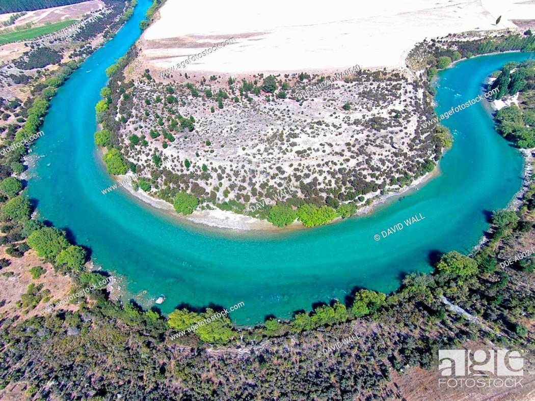 Stock Photo: Clutha River, Central Otago, South Island, New Zealand, drone aerial.