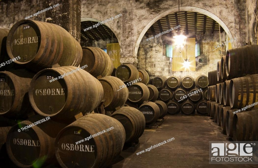 Stock Photo: Spain - Stacked oak barrels in one of the cellars at the Bodega Osborne in the town of El Puerto de Santa María  Cádiz province, Andalucía, Spain.