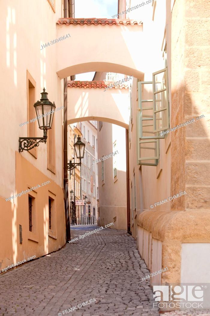 Stock Photo: Czech Republic, Prague - Narrow Street with Arches in Lesser Quarter.