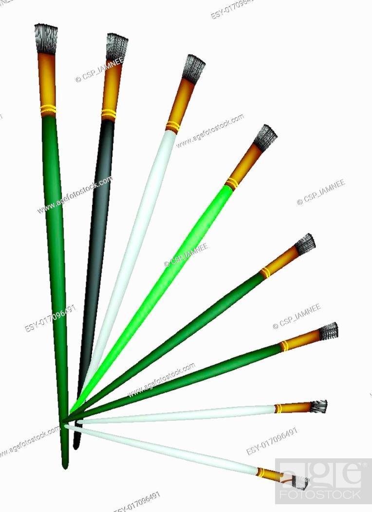 Vector: Set of Artist Brushes on White Background.
