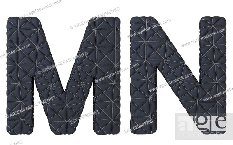 Stock Photo: Luxury black stitched leather font M N letters.