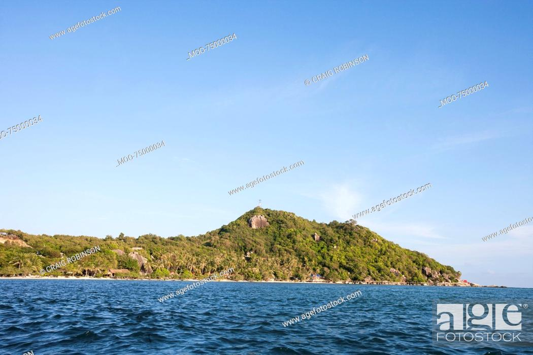 Stock Photo: Seascape with island in background, Koh Pha Ngan, Thailand.