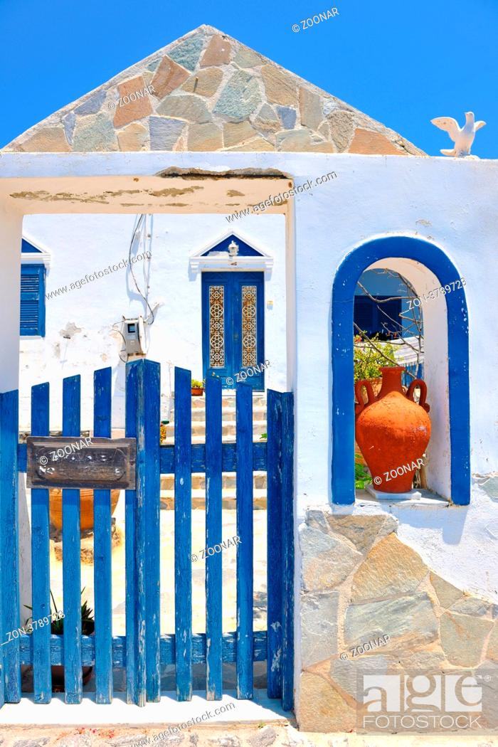 Stock Photo: summer vacation on beautiful vulcanic island santorini at greece.