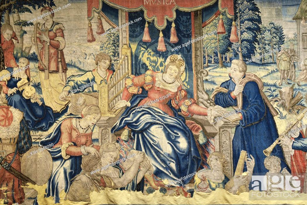 Stock Photo: Flemish tapestry (Oudenaarde) from 16th century titled ''La Musica'', Cite Royale of Loches in Touraine, department of Indre-et-Loire.