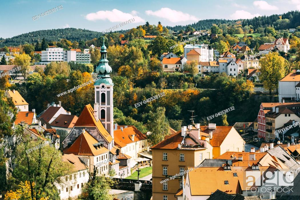 Stock Photo: Cityscape of Cesky Krumlov, Czech republic. Sunny autumn day. UNESCO World Heritage Site.