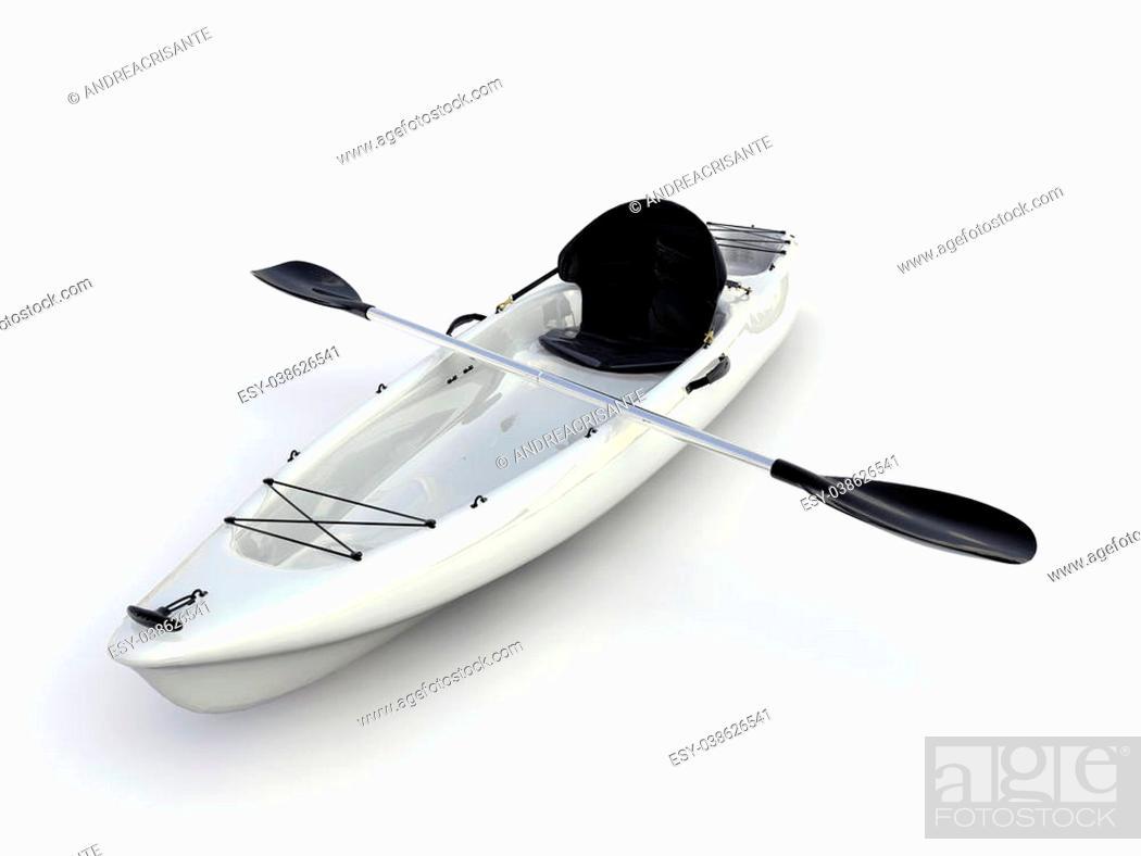 Imagen: white kayak isolated on white background.