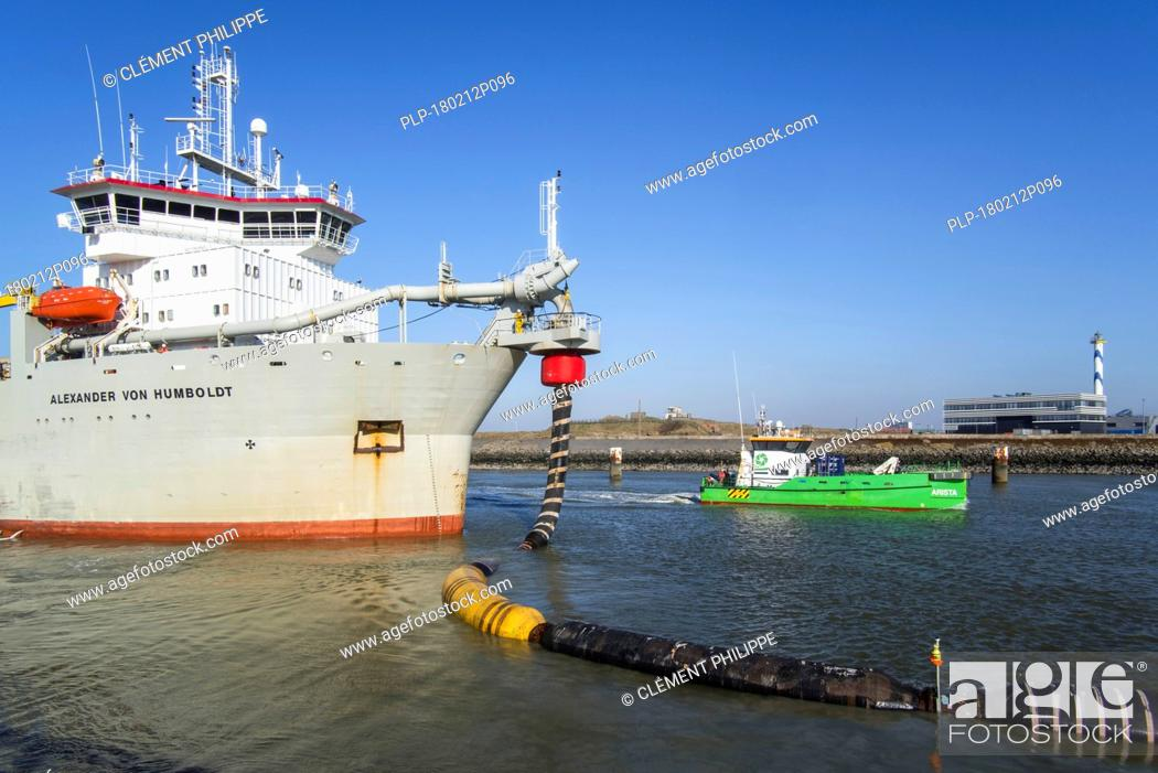 Stock Photo: Trailing suction hopper dredger Alexander von Humboldt and offshore maintenance & service vessel Arista in the port of Ostend, Belgium.