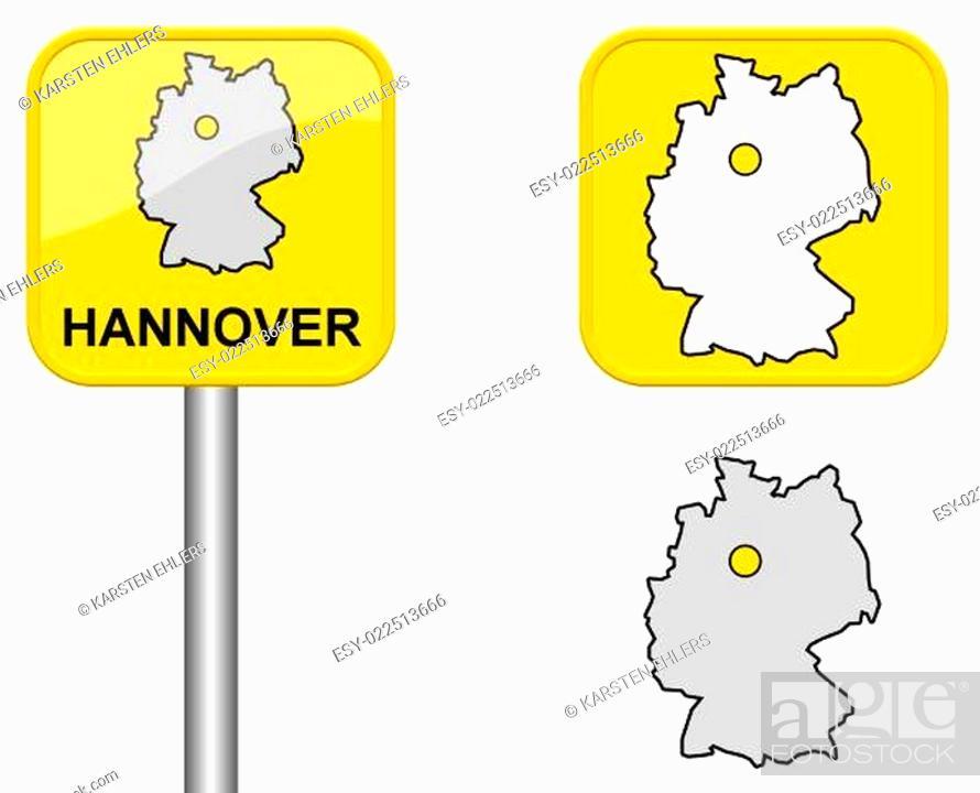 Ortsschild Deutschlandkarte Und Button Von Hannover Stock Photo