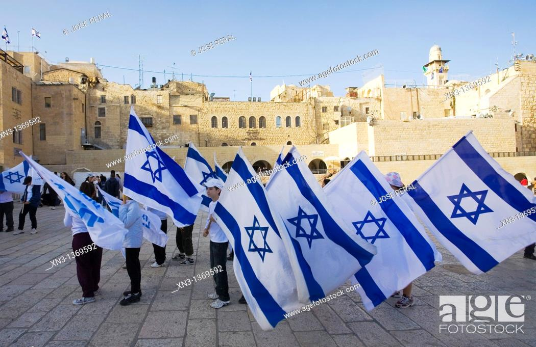 Stock Photo: Children carrying the flag of Israel, Western Wall Plaza, Wailing Wall, Jerusalem, Israel, Middle East.