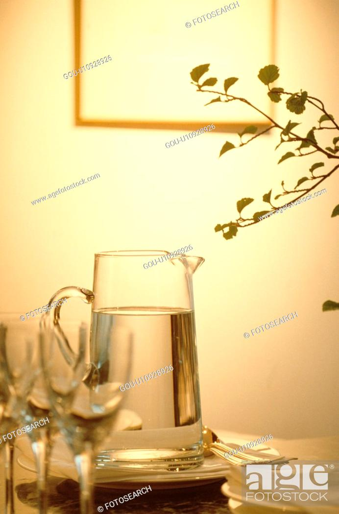 Stock Photo: Jug Of Water Near Glasses.