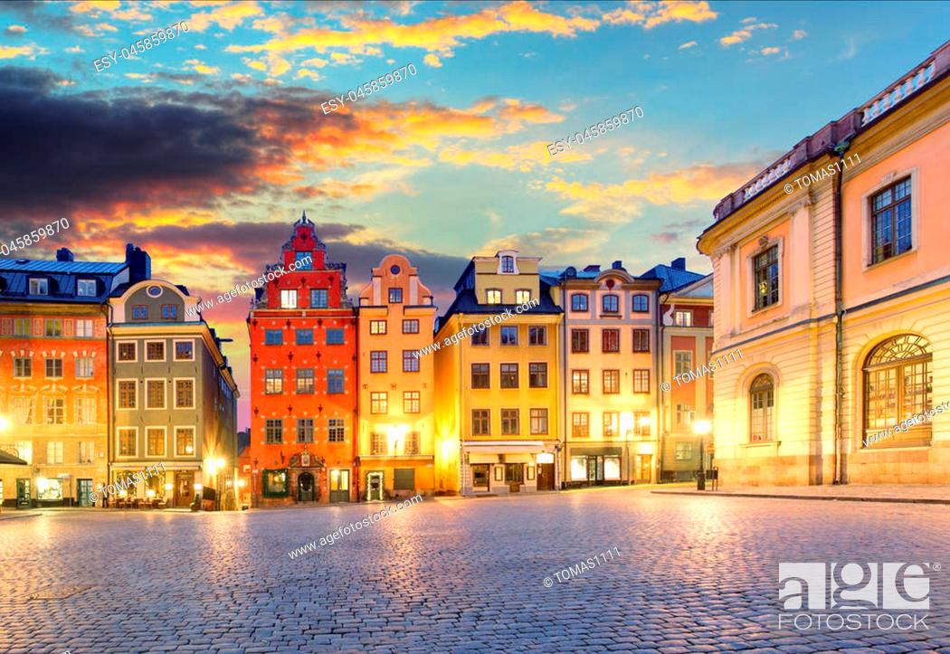 Stock Photo: Scenic summer night - Big Square (Stortorget) in the Old Town (Gamla Stan) in Stockholm, Sweden.
