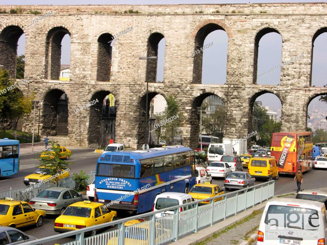 Stock Photo: Valens Aqueduct Bozdogan Kemeri Istanbul Turkey.