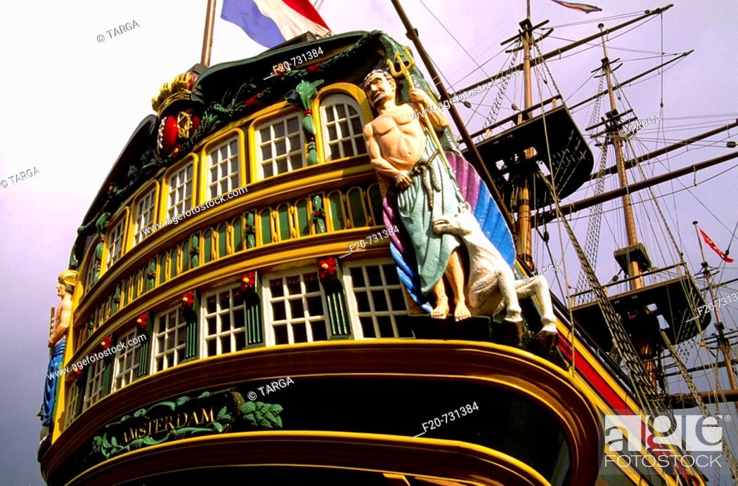Stock Photo: Replica of the 'Amsterdam', Dutch East India Company cargo ship moored next to the Netherlands Maritime Museum, Amsterdam, The Netherlands.