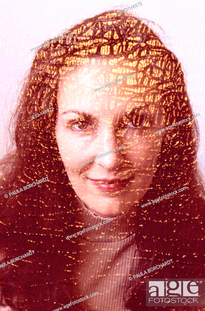 Stock Photo: Portrait of woman - 'old cracked painting' effect.