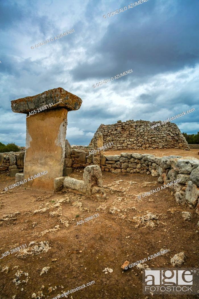 Stock Photo: Taula of Trepuco (550-123 b C). Talayotic Village of Trepuco (800-450 b C). Mao Municipality. Minorca Island. Balearic Islands. Spain.