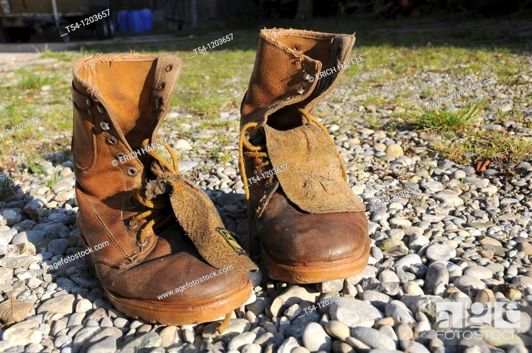 Stock Photo: A couple of old leather boots.