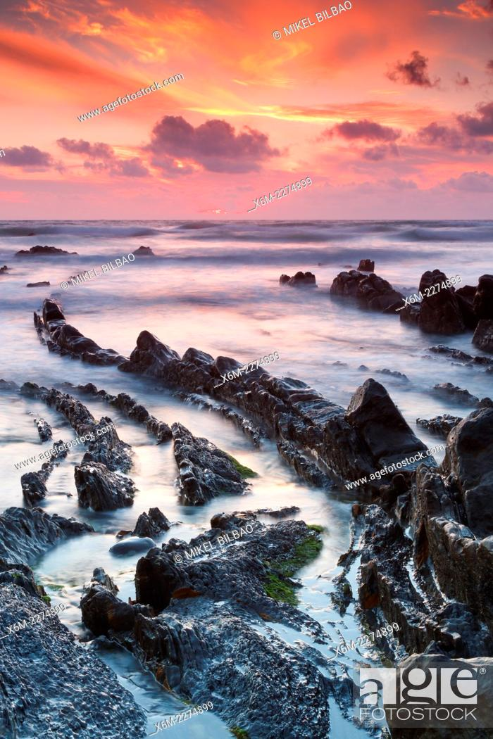 Stock Photo: Rocky beach. Barrika, Biscay, Basque Country, Spain, Europe.