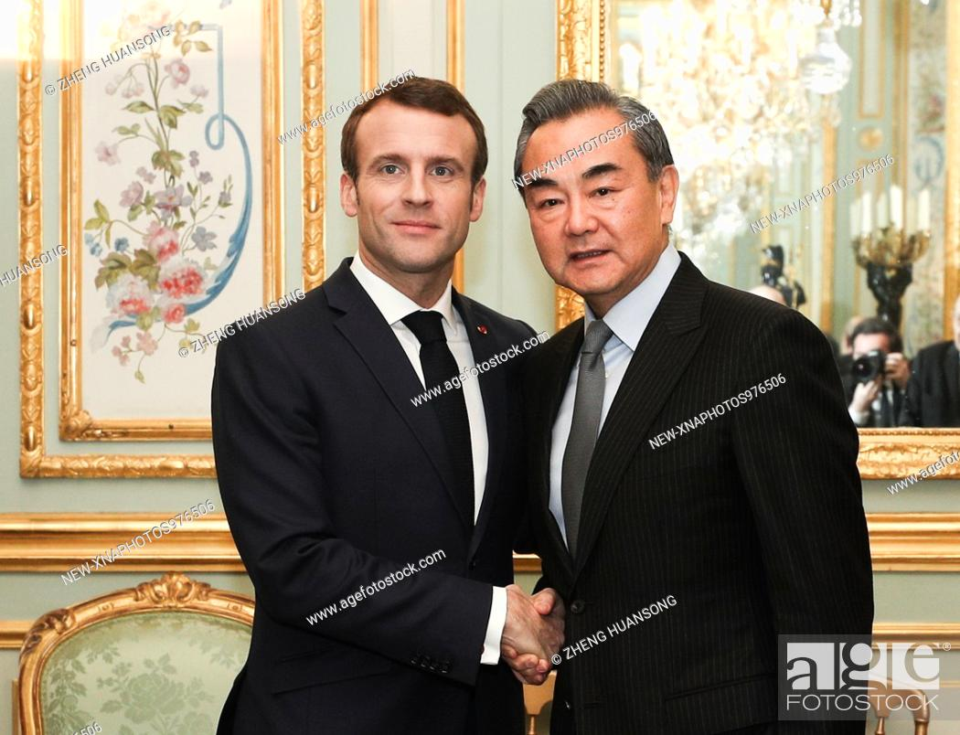 Stock Photo: (190124) -- PARIS, Jan. 24, 2019 (Xinhua) -- French President Emmanuel Macron meets with Chinese State Councilor and Foreign Minister Wang Yi at the Elysee.