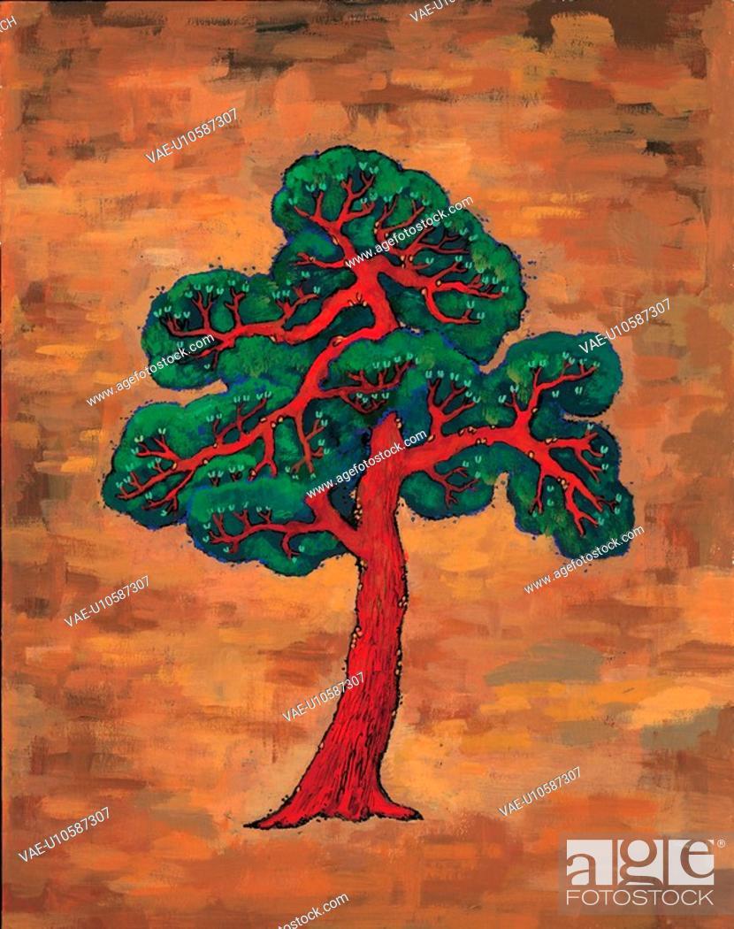 Stock Photo: trees, Orientalpainting, plants, plant, pine, tree, tradition.