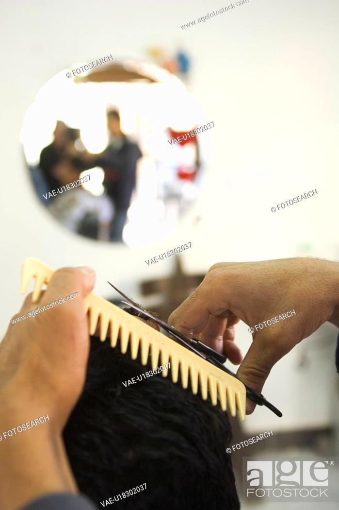 Stock Photo: Barber, Barber Shop, Close-Up, Comb, Cutting.