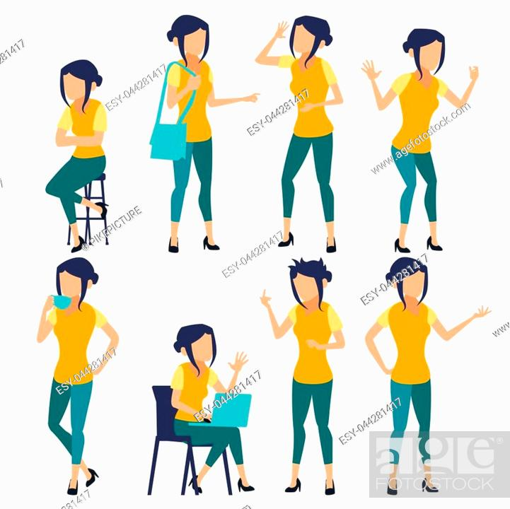 Stock Vector: Woman Set Vector. Modern Gradient Colors. People In Action. Creative Person. Design Element. Isolated Flat Illustration.