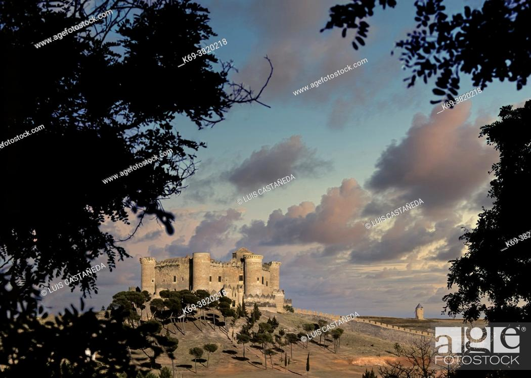Stock Photo: The Castillo de Belmonte is a medieval castle on the hill of San Cristobal, just outside the village of Belmonte in the southwest of the province of Cuenca in.