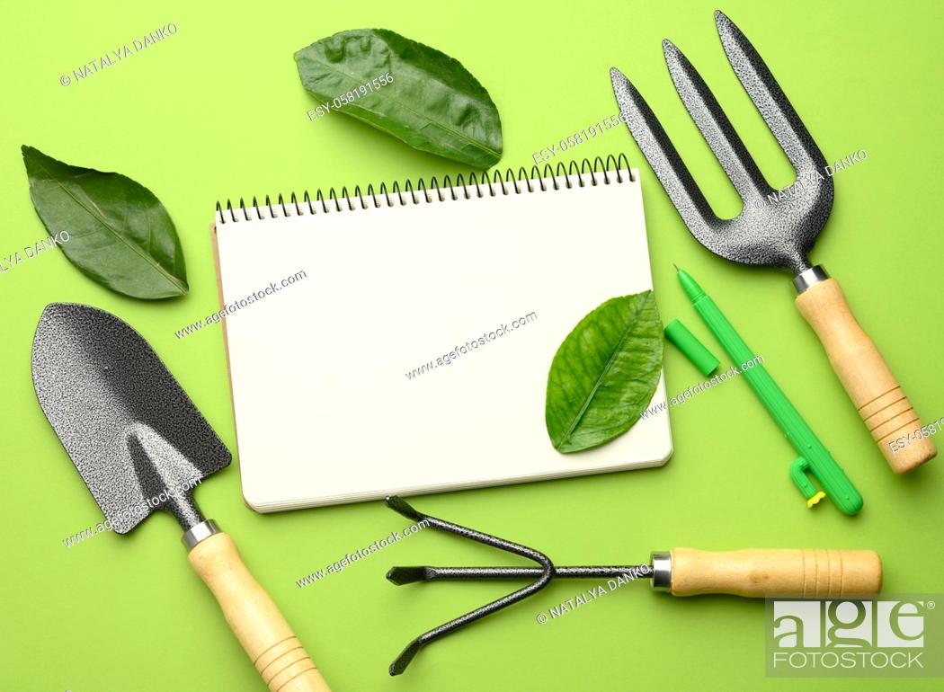 Stock Photo: open notebook with blank white sheets and various gardening tools with wooden handles on green background, flat lay, copy space.