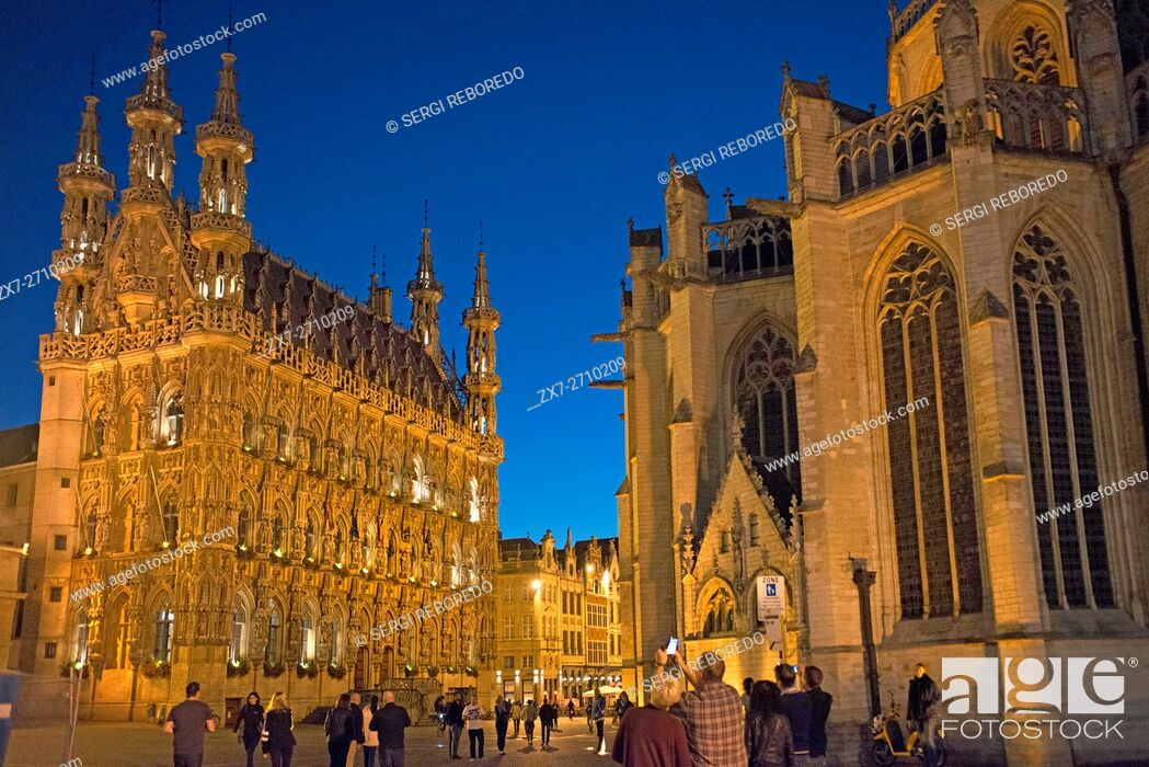 Stock Photo: The Gothic town hall in Brabantine Late Gothic style at the Grote Markt / Main Market square, Leuven / Louvain, Belgium. Leuven Belgium 15th century late gothic.