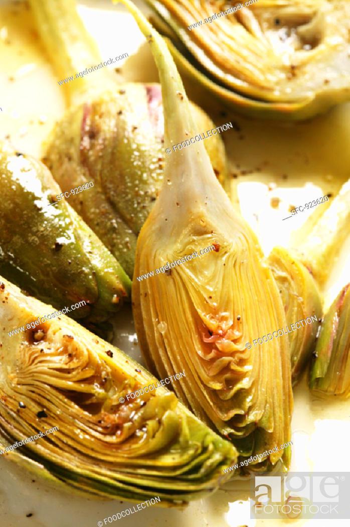 Stock Photo: Marinated artichokes.