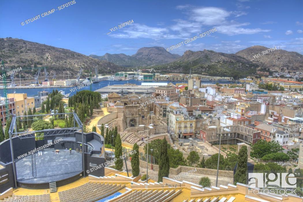 Stock Photo: Panoramic view over the city of Cartagena, Murcia, Spain.