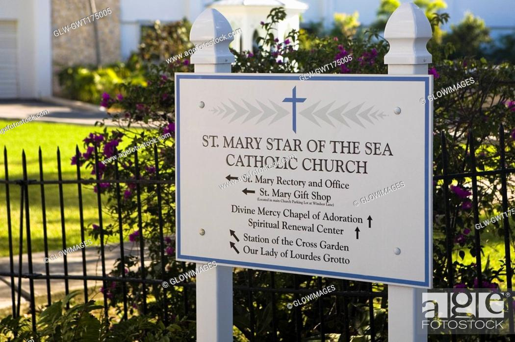 Stock Photo: Close-up of a signboard at the entrance of a church, St  Mary Star Of The Sea, Key West, Florida, USA.