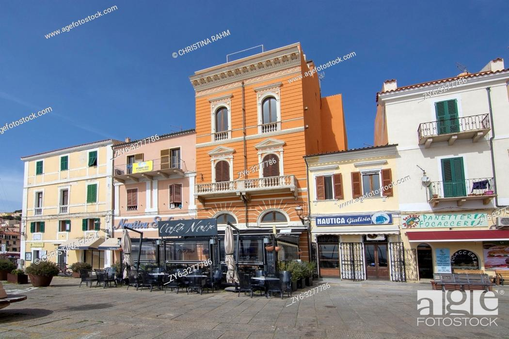 Stock Photo: ISOLA MADDALENA, SARDINIA, ITALY - MARCH 7, 2019: Cafe Noir in the port area back streets on a sunny day on March 7, 2019 in La Maddalena, Sardinia, Italy.