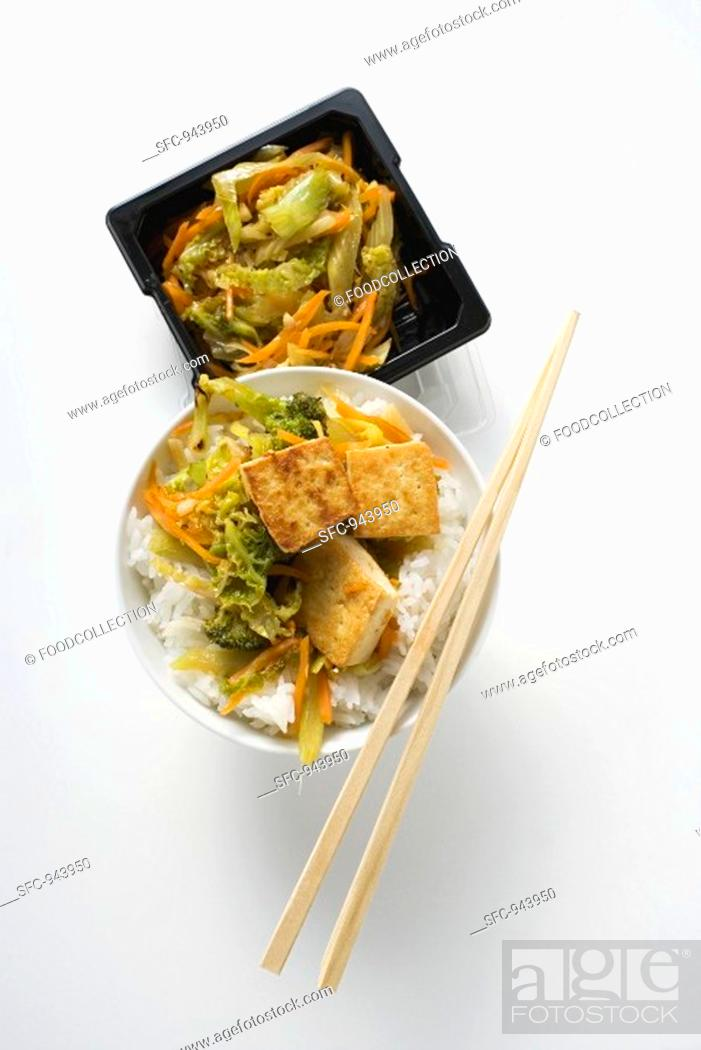 Stock Photo: Stir-fried vegetables with fried tofu.