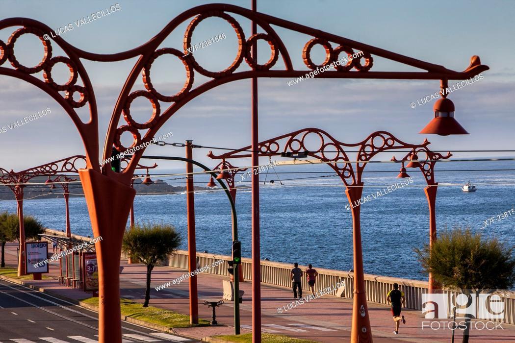 Stock Photo: Paseo Alcalde Francisco Vazquez, Coruña city, Galicia, Spain.