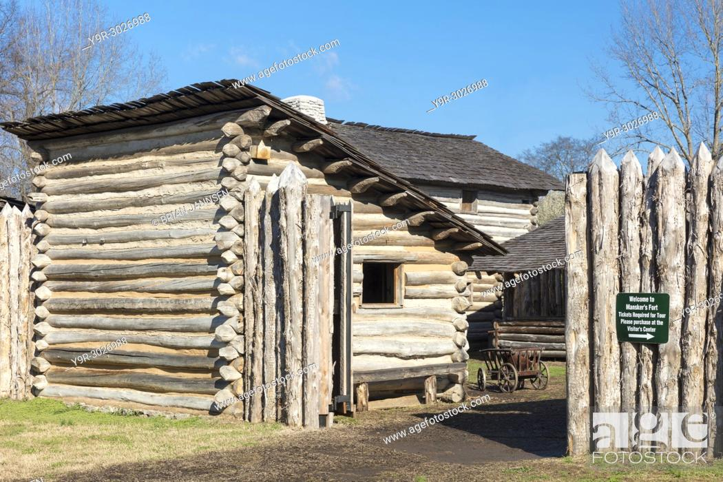 Stock Photo: Mansker's Station - a reproduction of the 18th Century American frontier fort situated here, about 10 miles north of Nashville in Goodlettsville, Tennessee, USA.