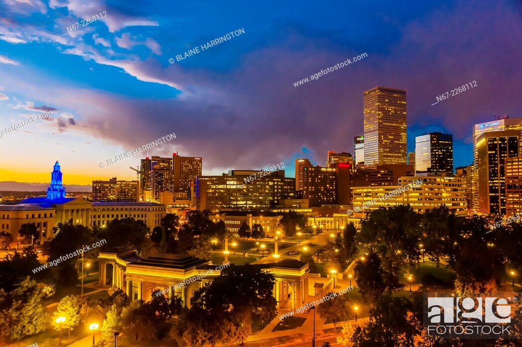 Stock Photo: Skyline with City & County Building on left and Civic Center Park in foreground, Downtown Denver, Colorado USA.