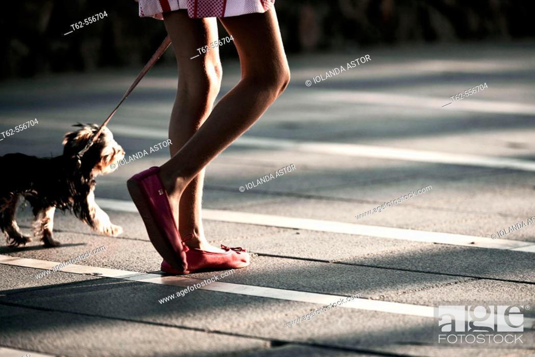Stock Photo: Girl walking her dog.