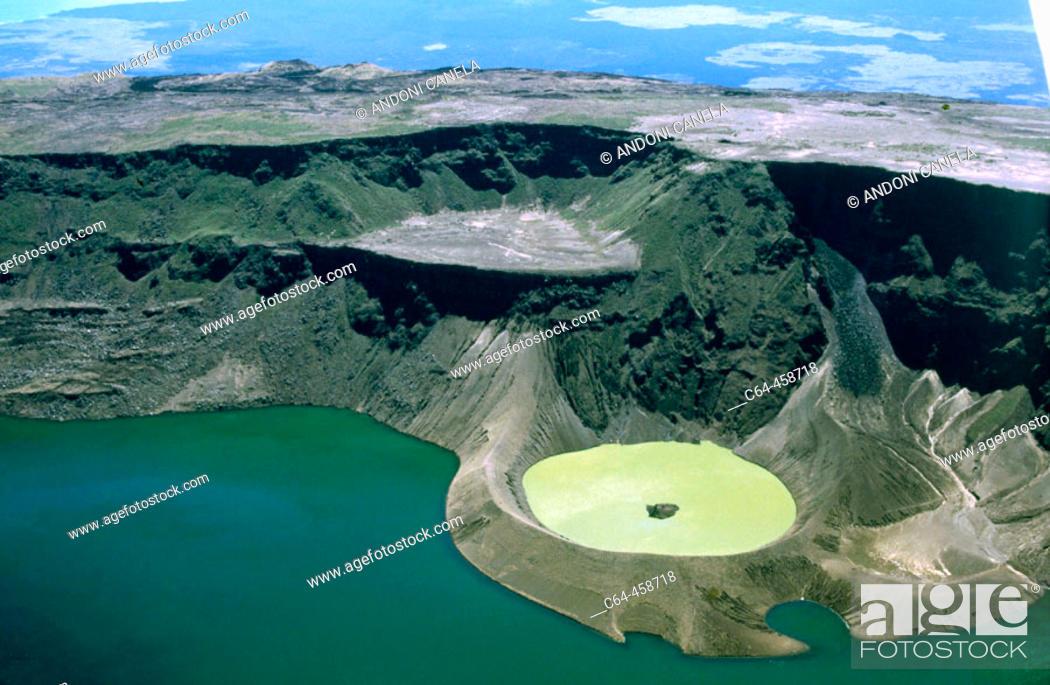 Stock Photo: Cerro Azul volcano, Isabela Island. Galapagos Islands, Ecuador.