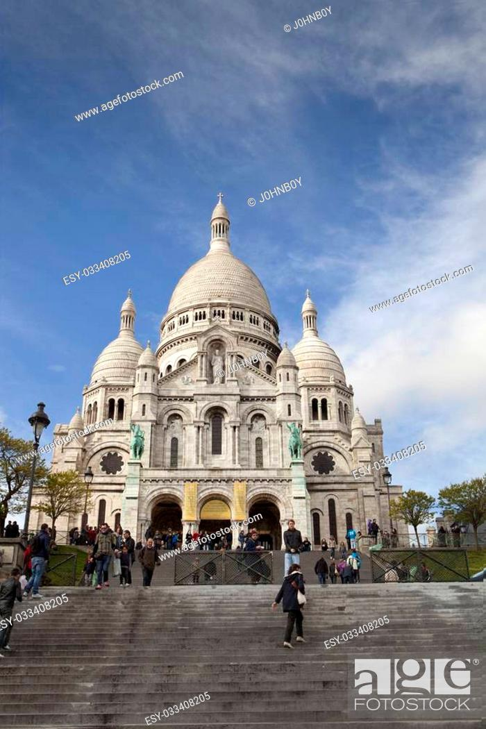 Stock Photo: People walking up the stairs to Sacre Cour in Paris.
