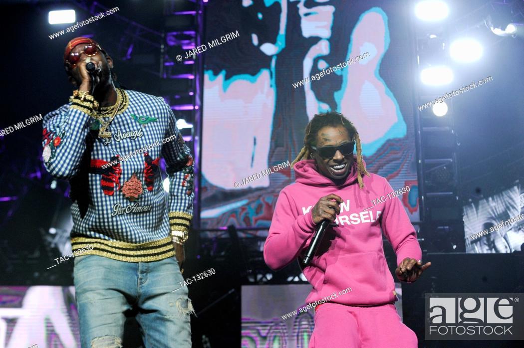 L-R) 2 Chainz and Lil Wayne perform their new album