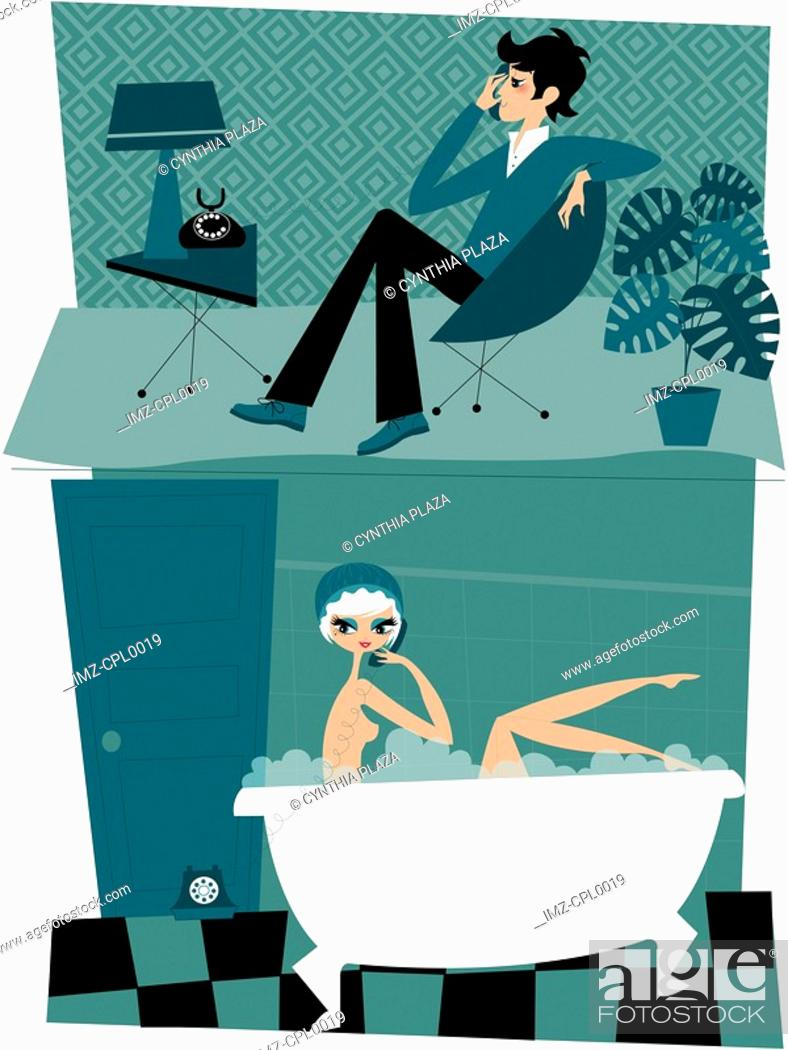 Stock Photo: A montage illustration of a man talking on the phone to a woman in a bubble bath.