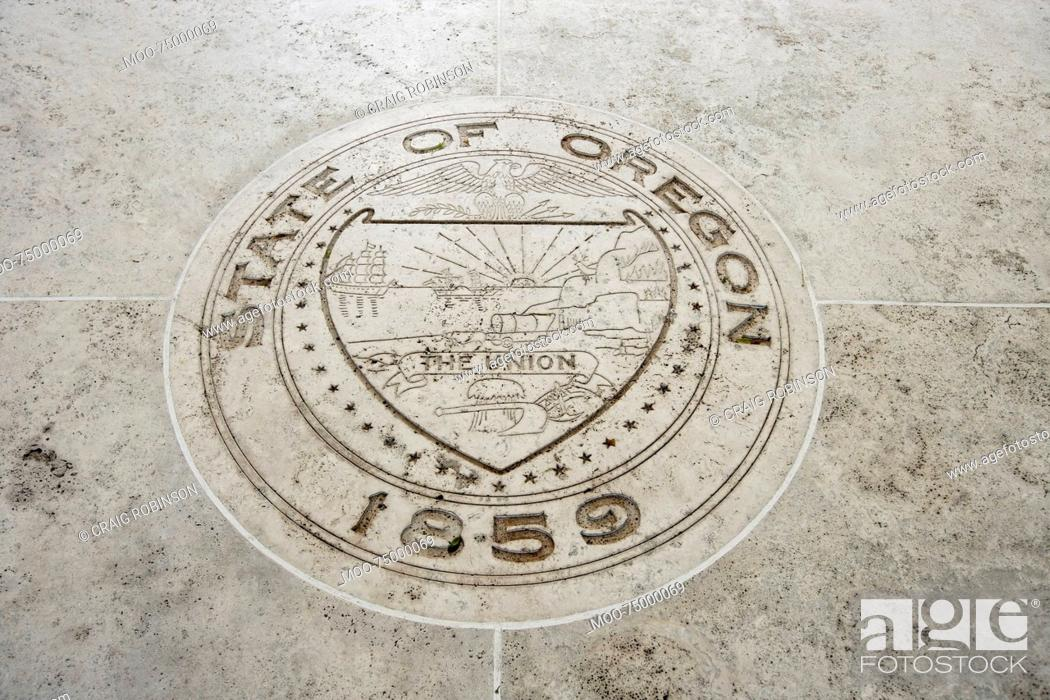 Stock Photo: Seal of Oregon in Fort Bonifacio, Manila, Philippines.