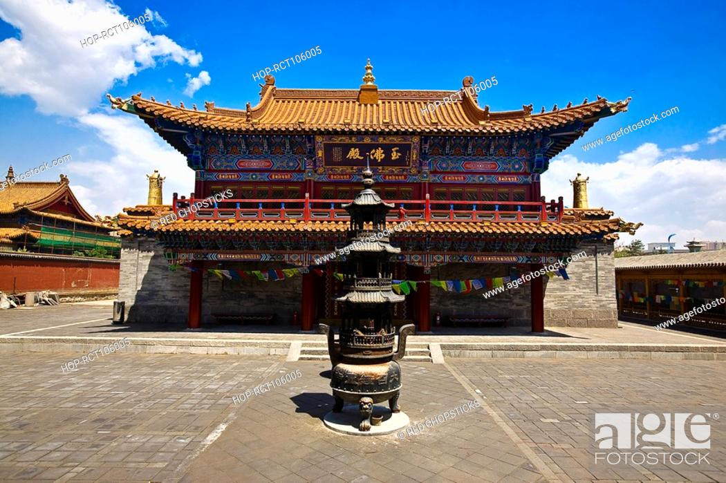 Stock Photo: Sculpture in front of a temple, Da Zhao Temple, Hohhot, Inner Mongolia, China.
