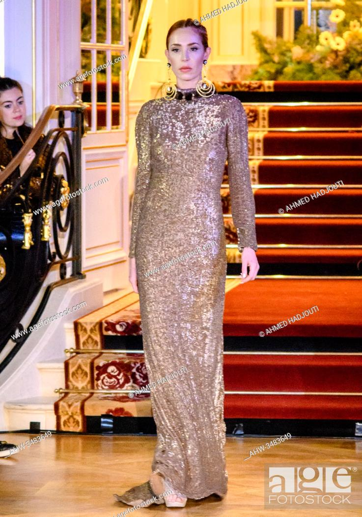 Stock Photo: PARIS, FRANCE - FEBRUARY 28: A model walks the runway during the Fashion Week Studio show wearing the designs of Yolancris as part of Paris Fashion Week on.