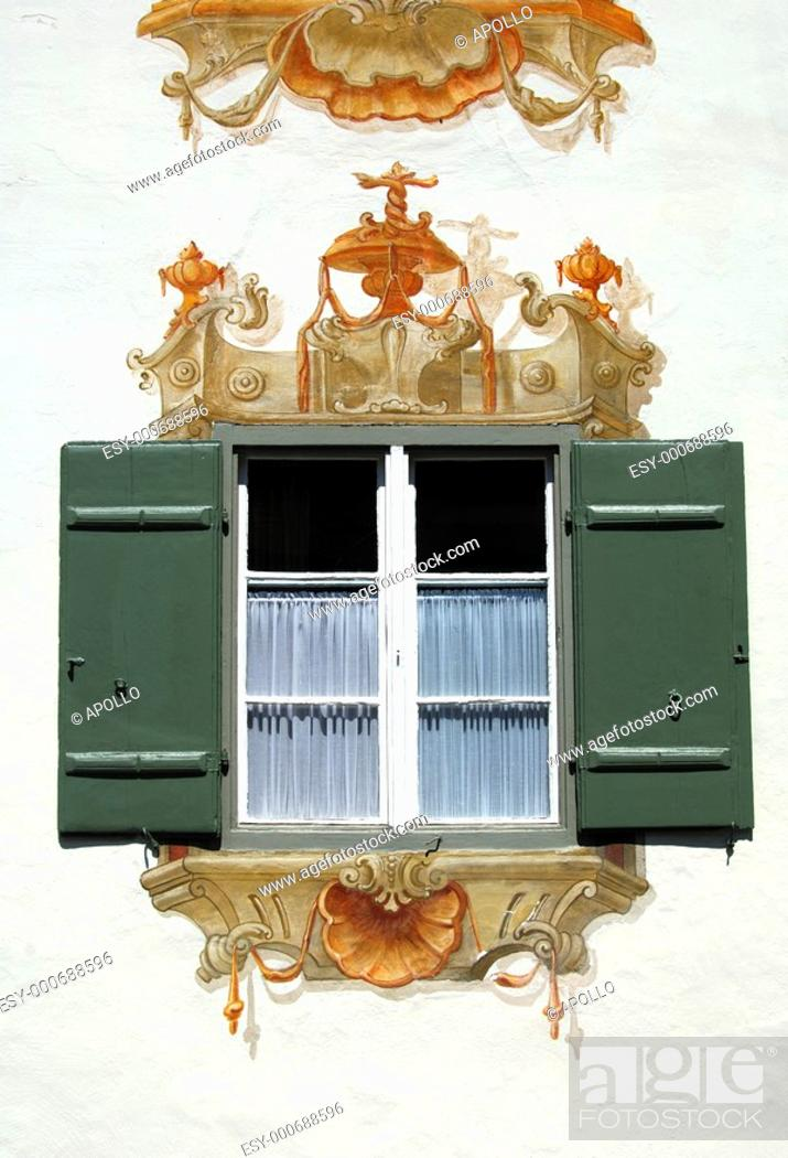Stock Photo: Tromp l'oeil frescoes at a residential building in Oberammergau, Bavaria, Germany.