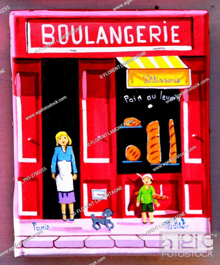 Stock Photo: Souvenir of Paris, painting of a typical french shop.