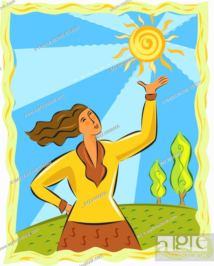 Stock Photo: A woman holding up the sun.