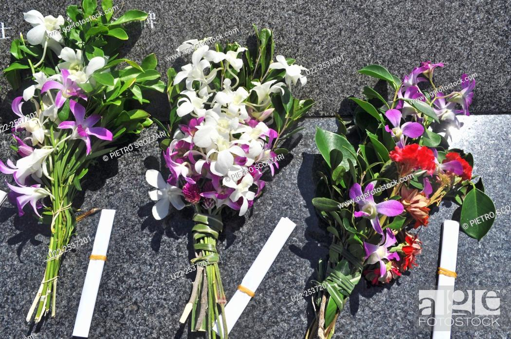 Stock Photo: Okinawa, Japan: flowers for the victims of WW2 at the Peace Memorial.