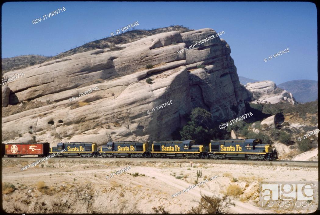 Stock Photo: Santa Fe Freight Train, Sullivan's Curve, Cajon Pass, California, USA, 1964.