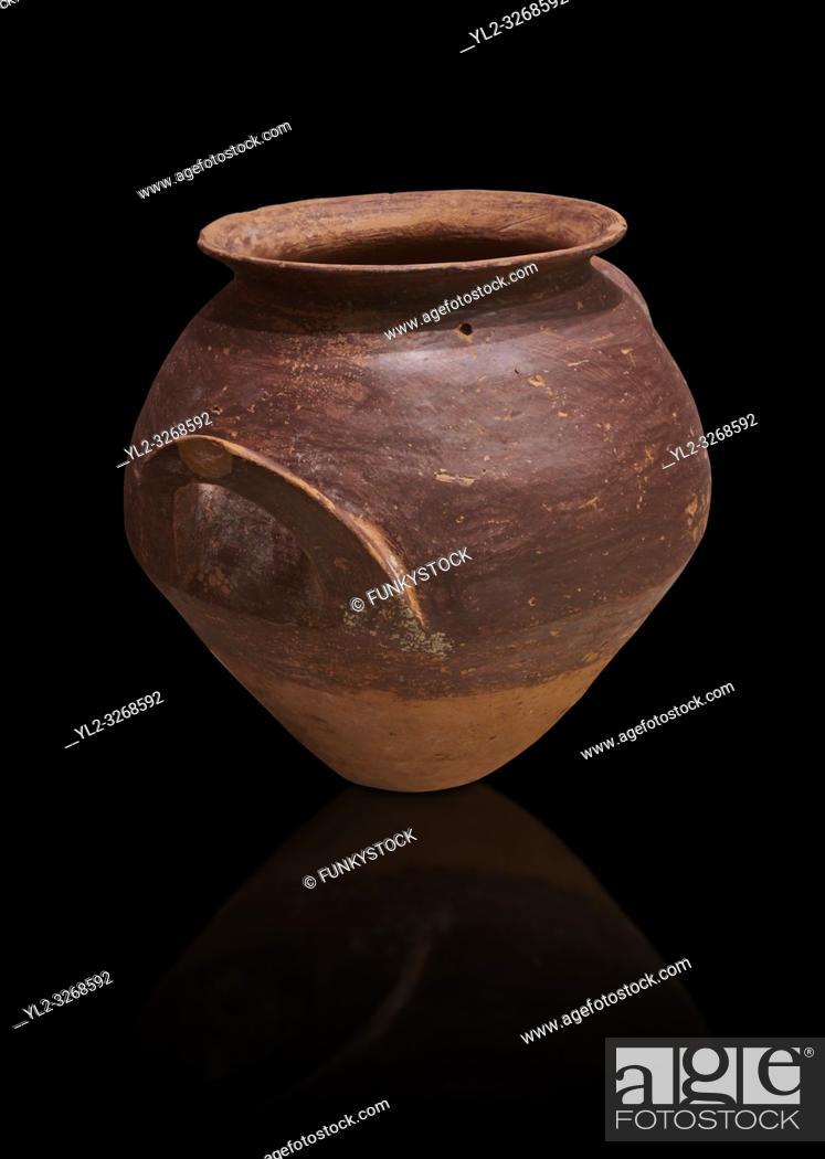 Stock Photo: Hittite terra cotta pot woth two handles. Hittite Period, 1600 - 1200 BC. Hattusa BoÄŸazkale. Çorum Archaeological Museum, Corum, Turkey.